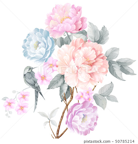 Beautiful watercolor rose and peony flower 50785214