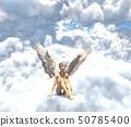 在雲彩例證材料的逗人喜愛的天使perming3DCG 50785400