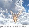在雲彩例證材料的逗人喜愛的天使perming3DCG 50785401