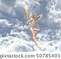 在雲彩例證材料的逗人喜愛的天使perming3DCG 50785403