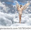 在雲彩例證材料的逗人喜愛的天使perming3DCG 50785404