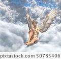 在雲彩例證材料的逗人喜愛的天使perming3DCG 50785406
