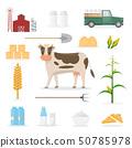 farmer cartoon character in organic farm with 50785978