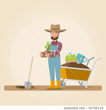 man with shovel planting a tree outdoors. vector 50786128