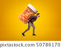 Side view of young man in casual clothes carrying big heavy-looking medicine jar on yellow 50786170
