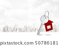 3d rendering of silver key and a house shape key fob on white city background 50786181