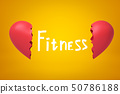 Title Fitness between 3d close-up rendering of two parts of broken heart on yellow background. 50786188