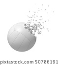 3d rendering of white volleyball starting to dissolve into particles isolated on white background. 50786191