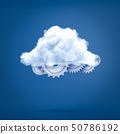 3d rendering of several metal cogwheels covered with a white cloud. 50786192