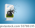 3d rendering of vertical billboard with black metal chained ball shattering into pieces on blue 50786195