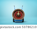 3d rendering of navy blue hand truck standing upright with casino roulette wheel on it on light-blue 50786210