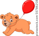 Cartoon little bear with a red balloon 50786258
