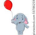 Cartoon elephant holding a red balloon 50786259
