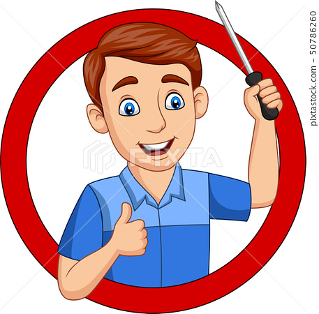 Cartoon male workers holding a screwdriver 50786260