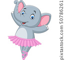 Cartoon elephant ballet dancer on white background 50786261