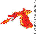 Cartoon red dragon spitting fire 50786265