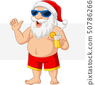 Cartoon Santa Claus with a cocktail waving 50786266