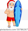 Cartoon santa claus holding a surfboard and giving 50786267