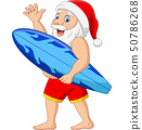 Cartoon santa claus holding a surfboard waving han 50786268