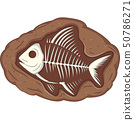 Illustration of underground fish fossil 50786271