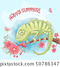Poster cute chameleon on a branch and flowers. Cartoon style. Vector 50786347