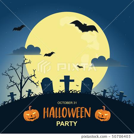 Halloween night background with pumpkin and dark 50786403