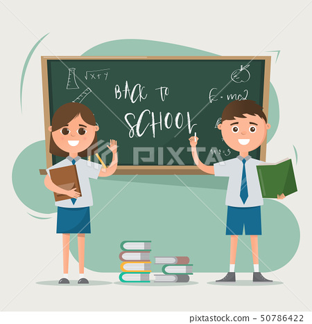 Happy students drawing on blackboard with books on 50786422