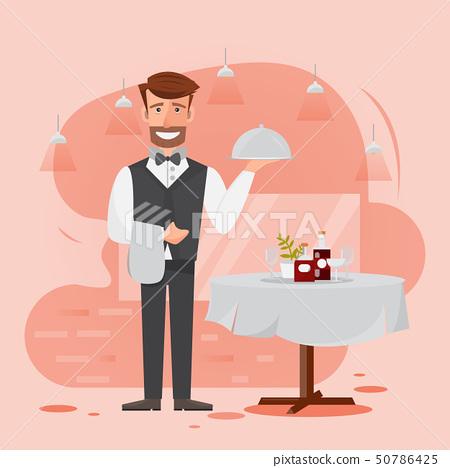 waiter man serving food in the restaurant. 50786425