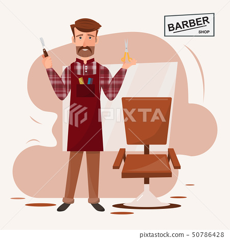 smart hairdresser man standing in front of his 50786428