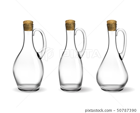 Empty glass bottles collection, isolated on white background. Photo-realistic vector, 3d 50787390