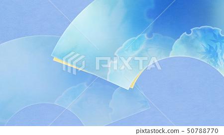 배경 - 일본 - 일본식 - 일본식 디자인 - 종이 - 여름 - 부채 - 하늘색 50788770