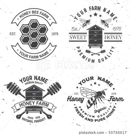Set of Honey bee farm badge. Vector. Concept for shirt, stamp or tee. Vintage typography design with 50788817