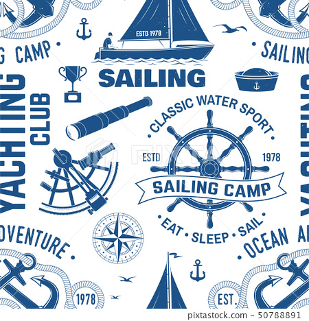 Yacht club seamless pattern or background. Vector. Concept for yachting shirt, print, stamp or tee 50788891