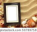 Picture frame on shells and sand background 50789758