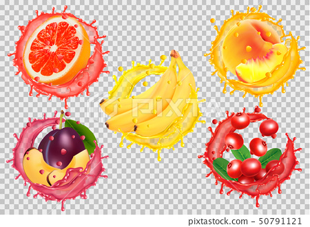 Set of fruit juice splash. Grapefruit, peach, 50791121