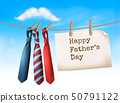 Happy Father's Day Background With A Three Ties On 50791122