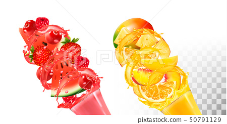 Fruit in juice splashes. Strawberry, raspberry, 50791129