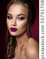 Make up. Glamour portrait of beautiful woman model with fresh makeup and romantic hairstyle. 50791708