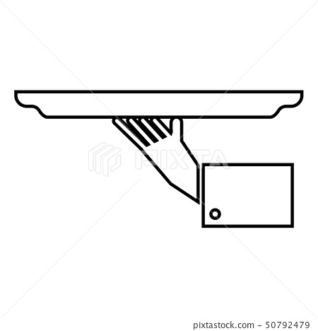Hand with tray icon black color illustration flat 50792479