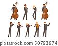 Musicians of symphonic orchestra and conductor, people playing various musical instruments vector 50793974