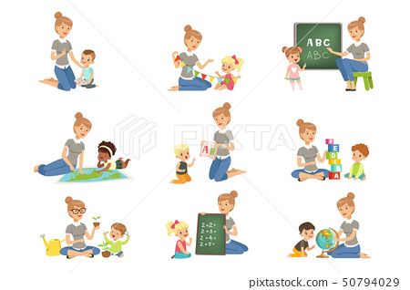 Cute little boys and girls playing and studying set, children study the alphabet, geography, biology 50794029