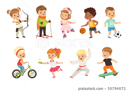 Cute little children playing different sports, soccer, basketball, archery, karate, cycling, roller 50794072