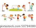 Cute little children playing different sports, footbal, soccer, golf, basketball, baseball, archery 50794080