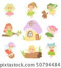 Cute Little Forest Fairies Set, Lovely Fairies Girls Cartoon Characters and Fairytale Fantasy House 50794484