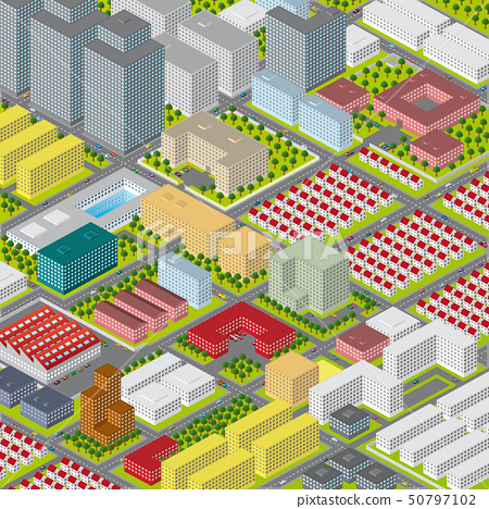 Vector graphic illustration of a modern big city 50797102