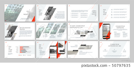 Red presentation templates elements on a white background. Vector infographics. Use in Presentation 50797635