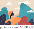 Traveler with a backpack, bangs with a backpack standing on a mountain peak and looking at the 50799712