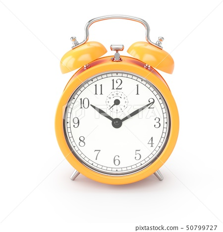 3D rendering orange alarm clock isolated on white 50799727