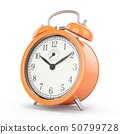 3D rendering orange alarm clock isolated on white 50799728