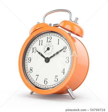 3D rendering orange alarm clock isolated on white 50799728